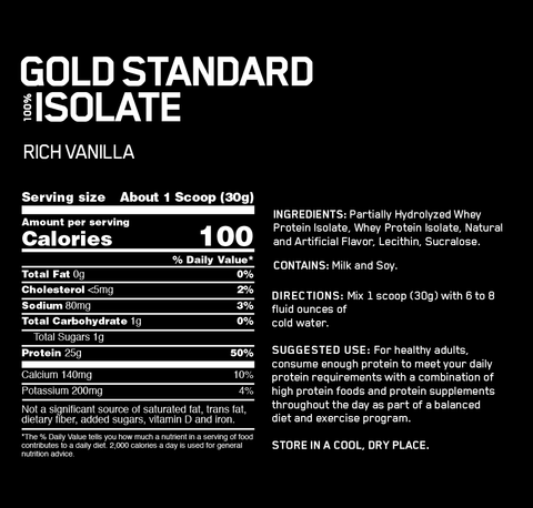 Optimum Nutrition Gold Standard 100% Whey Protein Isolate - Rich Vanilla