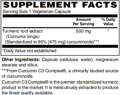 Turmeric Extract Capsules (500mg) with Curcumin C3 Complex® by BariatricPal