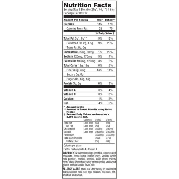 Doctors CarbRite Diet - Sugar-Free Blondie Mix with Chocolate Chips - Baking Mix