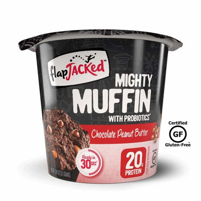 FlapJacked Mighty Muffins with Probiotics - Available in 9 Flavors! - Chocolate Peanut Butter / One Pack - Muffins