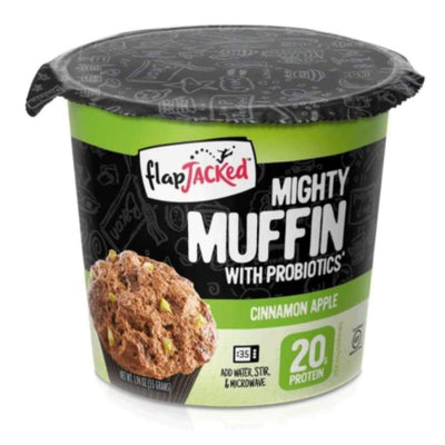 FlapJacked Mighty Muffins with Probiotics - Available in 9 Flavors! - Cinnamon Apple / One Pack - Muffins