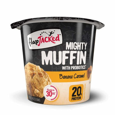 FlapJacked Mighty Muffins with Probiotics - Available in 9 Flavors! - Banana Caramel / One Pack - Muffins