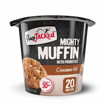 FlapJacked Mighty Muffins with Probiotics - Available in 9 Flavors! - Cinnamon Roll / One Pack - Muffins