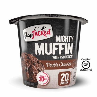 FlapJacked Mighty Muffins with Probiotics - Available in 9 Flavors! - Double Chocolate / One Pack - Muffins