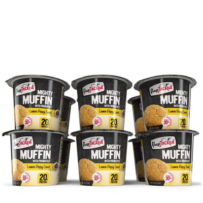 FlapJacked Mighty Muffins with Probiotics - Available in 9 Flavors! - Lemon Poppy Seed / 12-Pack - Muffins