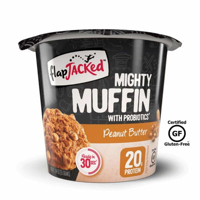 FlapJacked Mighty Muffins with Probiotics - Available in 9 Flavors! - Peanut Butter / One Pack - Muffins