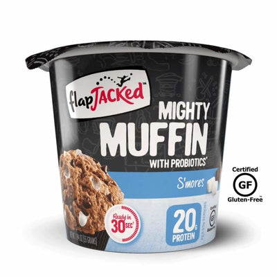 FlapJacked Mighty Muffins with Probiotics - Available in 9 Flavors! - S'mores / One Pack - Muffins