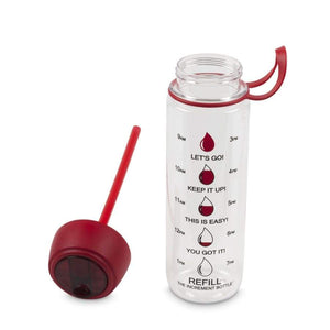The Increment Motivational Drinking Water Bottles - Disc Flip Straw (27oz) - Red - Shakers Mixers & Bottles
