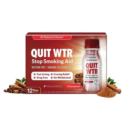 Quit WTR Nicotine-Free Stop Smoking Cessation Shot - Cinnamon Blend - 12-Pack - Smoking Cessation