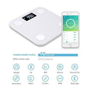 Yunmai mini Wireless Bluetooth Smart Scale with 10 Body Measurements! - Available in 3 Colors! - White - Body Scale