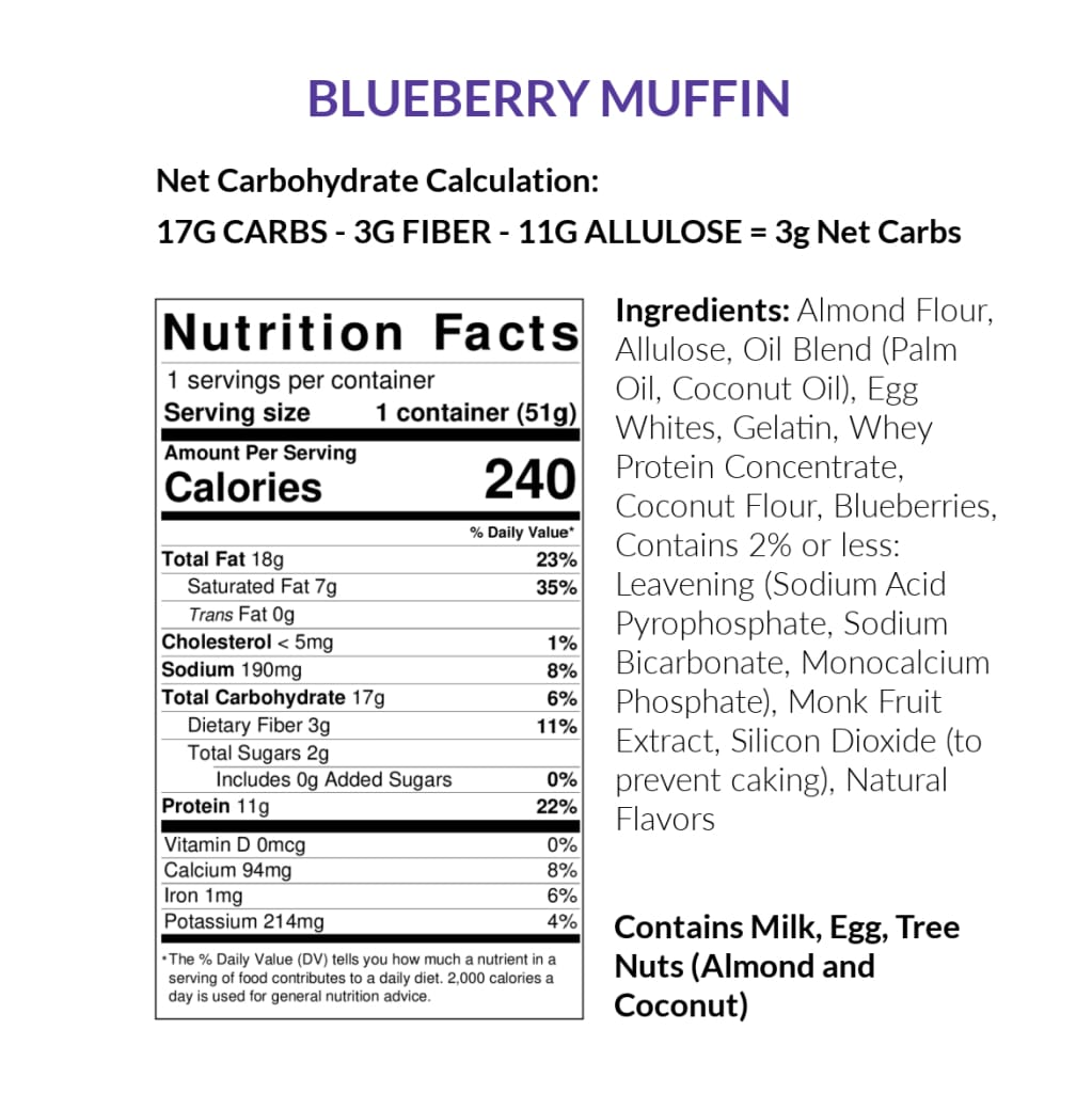 Upside Down Bakery Keto-Friendly Muffin Cups - Blueberry