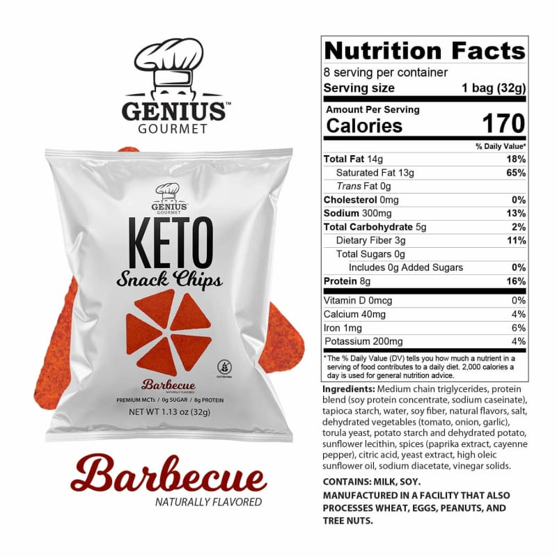 Genius Gourmet Keto Snack & Protein Chips - Barbecue
