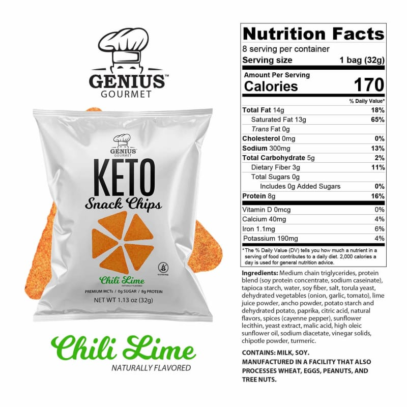 Genius Gourmet Keto Snack & Protein Chips - Chili Lime