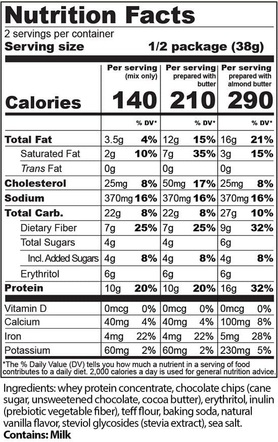 Chocolate Chip Protein Cookie Mix Nutrition - Protein Cakery