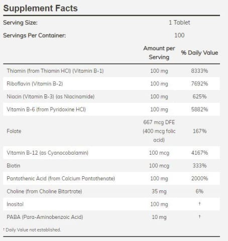 NOW Vitamin B-100 Sustained Release Tablets