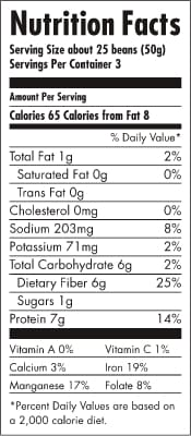 BRAMI Lupini Snack Nutrition Label - High Plant Protein Vegan Supersnack