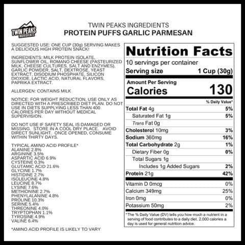 Twin Peaks Ingredients Protein Puffs - Garlic Parmesan