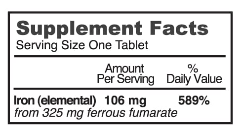Ferretts Super High Potency Iron Supplement (106mg) - Tablets (60)