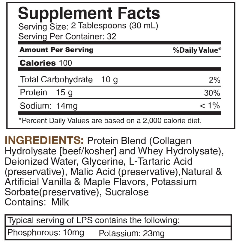 LPS Sugar Free® Collagen & Whey Liquid Protein Supplement by Nutritional Designs 32oz Bottle