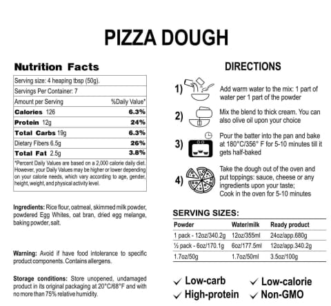 Newa Nutrition Low-Carb Sugar-Free Protein Pizza Dough & Crust Mix