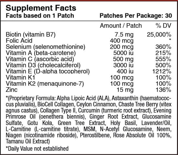 Biotin Plus Vitamin Patch for Hair, Skin, and Nails by PatchAid
