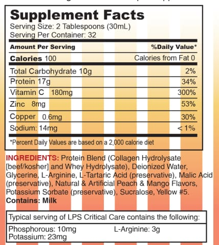 LPS Critical Care® Liquid Protein Supplement by Nutritional Designs 32oz Bottle - Available in 2 Flavors!