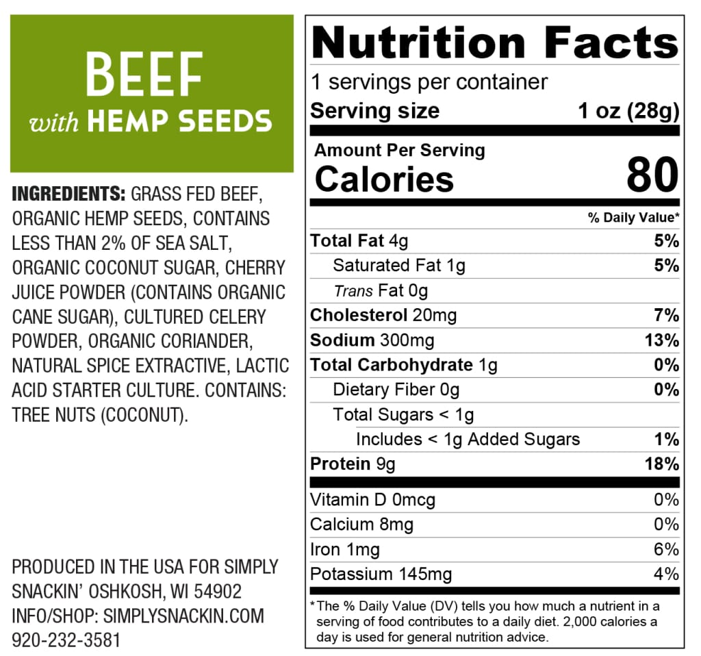 Simply Snackin' Beef Protein Snack - Beef with Hemp Hearts