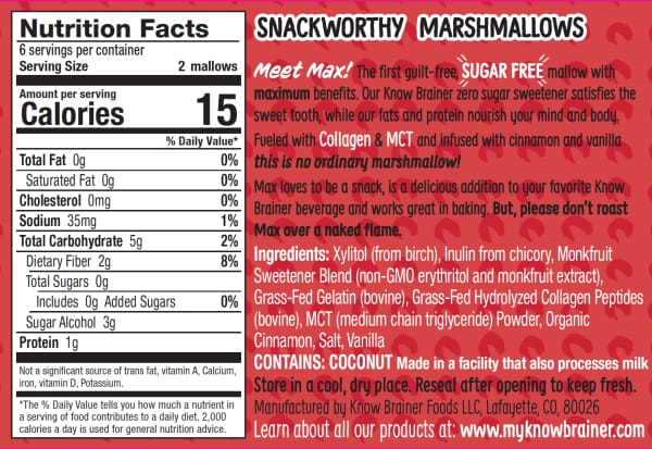 Max Mallow Low Carb Keto Marshmallows by Know Brainer Foods - Cinnamon Toast