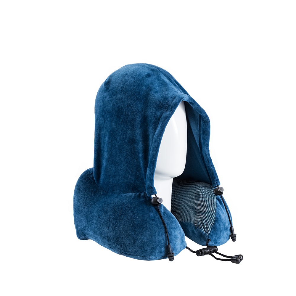 Blue Hoodie Neck Pillow (with ear plugs)