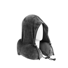 Load image into Gallery viewer, Gray Hoodie Neck Pillow (with ear plugs)