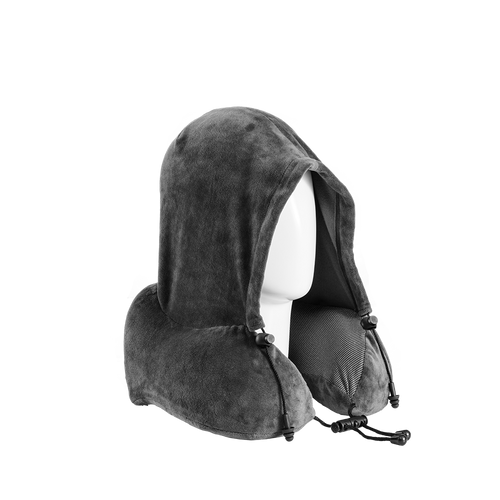 Gray Hoodie Neck Pillow (with ear plugs)