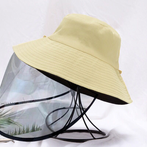 Reversible Bucket hat with Detachable Face shield (Black / Cream)