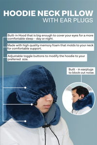 Hoodie Neck Pillow with ear plugs - Gray