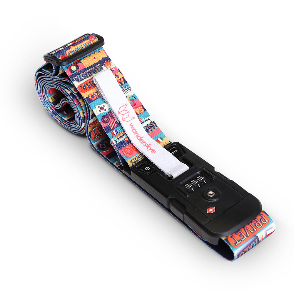 TSA Hello in all Language - Luggage Strap with Weighing Scale