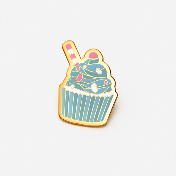 Berry Blue Cupcake Pin - Blue
