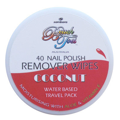 Beach Toes Nail Polish Remover Wipes - Coconut - Sambora Beach Toes - Remover Wipes - 1