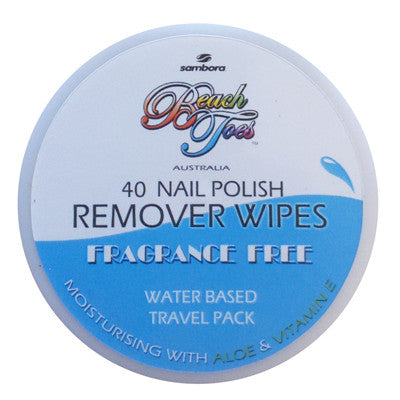 Beach Toes Nail Polish Remover Wipes - Fragrance Free - Sambora Beach Toes - Remover Wipes - 1