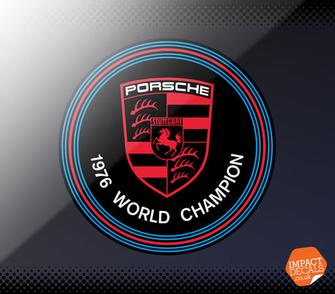 Porsche 1976 World Champion Window Decal. Genuine Item