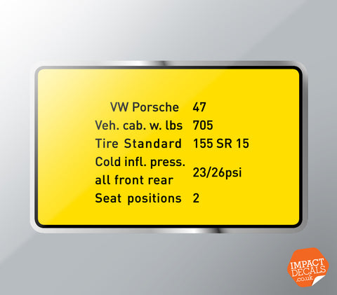 Tire Pressure Decal - Suitable for VW Porsche 914