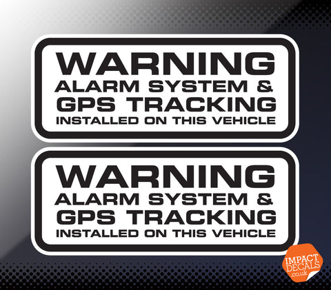 Warning Alarm System & GPS Tracking Decal Pair