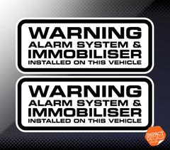 Warning Alarm & Immobiliser Fitted Decal