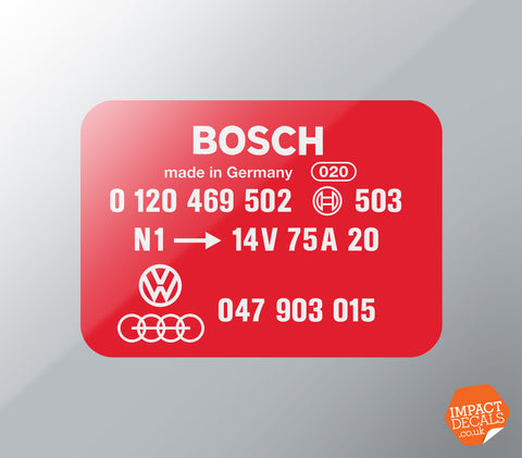 Bosch Alternator Case Decal