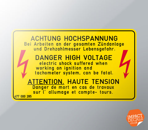 Danger High Voltage Decal (original)