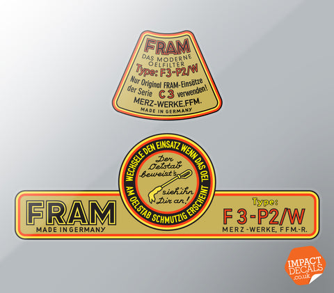FRAM C3 Oil Canister Decal Set