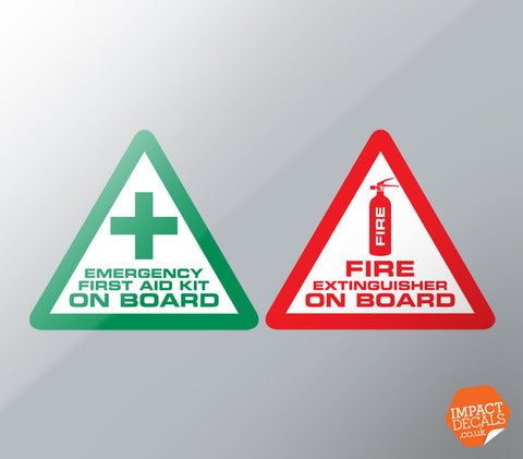 First aid and Fire Extinguisher Decals - Pair