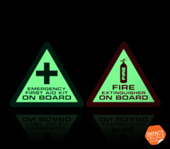 Luminescent First aid and Fire Extinguisher Decals - Pair (Glow in the Dark)