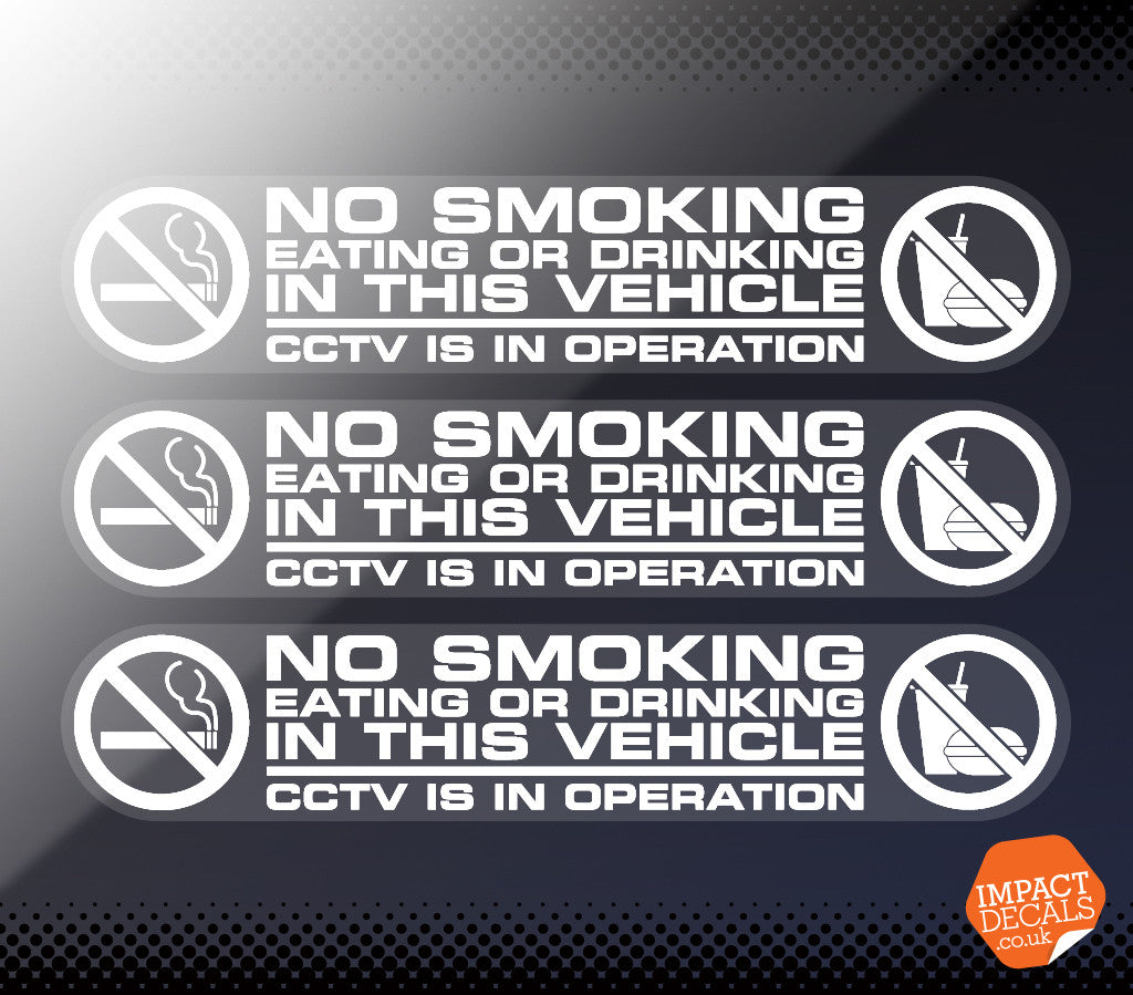 No Smoking, Eating or Drinking Decals / Taxi Sticker
