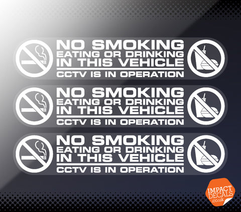 No Smoking, Eating or Drinking Window Decal - Set of 3