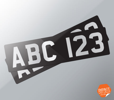 Classic Pre 1973 Number Plate Style Decal Pair