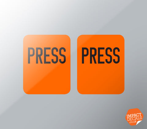 'PRESS' Decals - Suitable for classic REPA Seat Belts - PAIR
